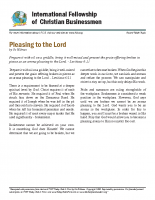 Pleasing to the Lord